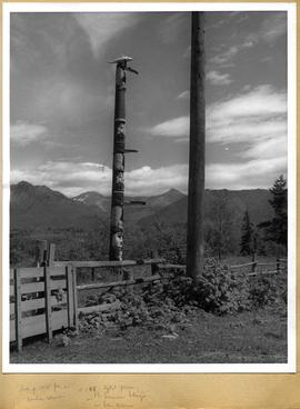 Totem pole behind a fence