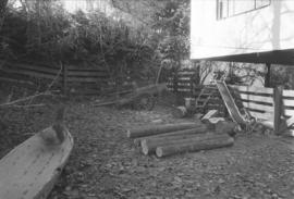 [Canoe, yard and dog]