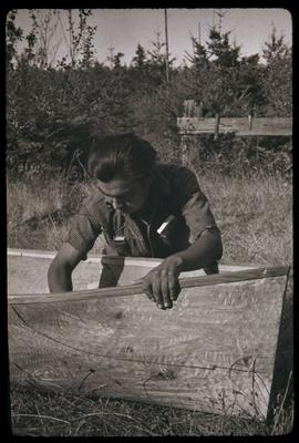 Canoe carving at May 24, 1948 regatta