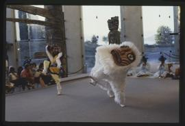 Korean dancers dressed as a lion perform in the Great Hall
