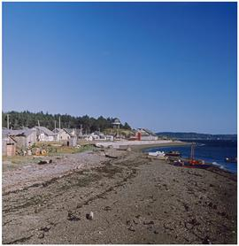 Haida,' Masset [beach and small wooden buildings]