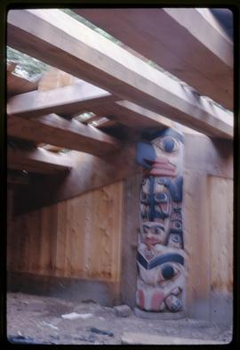 Haida house interior house post