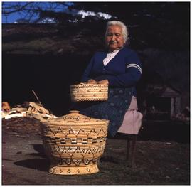 [Granny Peters, Peters Reserve, Sea Bird Island, Hope BC, with baskets]