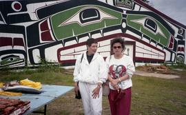 Two women in front of Alert Bay Community House