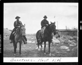 Portrait of two men on horseback at Beartooth Montana, 1916