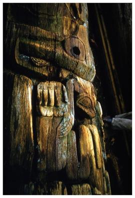 Ninstints,1957, figure on totem pole