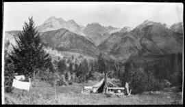 View of camp in the mountains