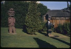 Thunderbird Park, Victoria, B.C., (replica), Bella Coola grave figures, #11 grizzly bear, #12 gri...