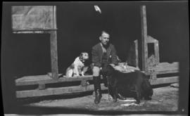 L/Col. Parker with his two dogs Brownie and Guessie