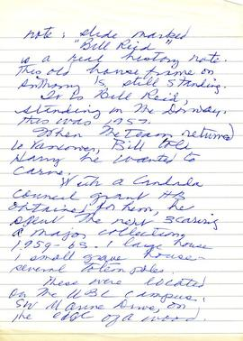 Handwritten note about Anthony Island slides