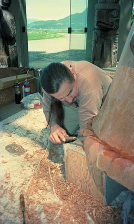 Jim M. Hart working on a sculpture