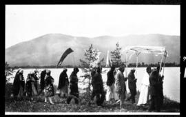 Group portrait of processional to lake