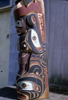 Thunderbird totem pole, view of base