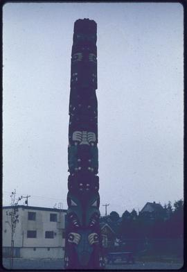 Copy of grizzly bear totem in Moose Tot park, Prince Rupert, BC.