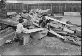 Children playing at the Turnbull & Gail construction yard in Richmond (contractors for buildi...