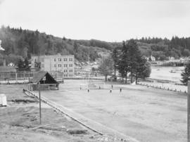 School, soccer field and harbour