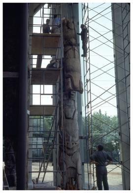 [Totem pole installation, Museum of Anthropology]