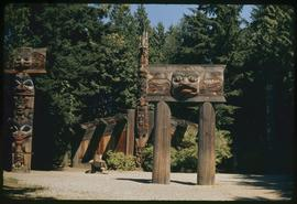 (Replicas)?, mortuary poles (Haida), dwelling house and sea wolf, Totem Park, UBC, Vancouver