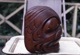 Ya-q-wees sea monster carving, side view