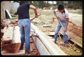 Hand splitting cedar plank at Musqueam