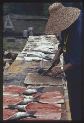 Man preparing salmon