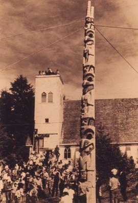 New pole in Old Massett, Robt. Davidson, Massett, Aug. 69