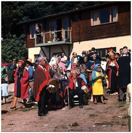 R. Davidson [Jr.] pole raising, Masset Q.C.I.: Pole raising ceremony in honor of Robert Davidson ...