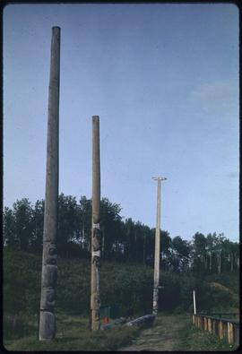 Totem poles in Ball Park, Old Hazelton, B.C.