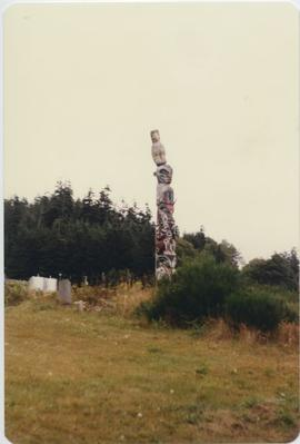 Totem pole in field