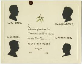 1933 Christmas and New Years card from Alert Bay Radio