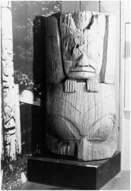 [Piece of totem pole in museum?]