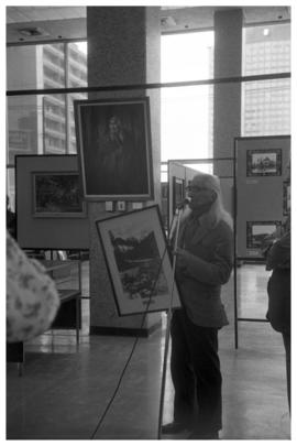 Chief Dan George at Centennial opening of display at Van Public Library, Vancouver BC