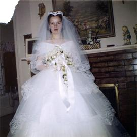 Unidentified woman in wedding gown