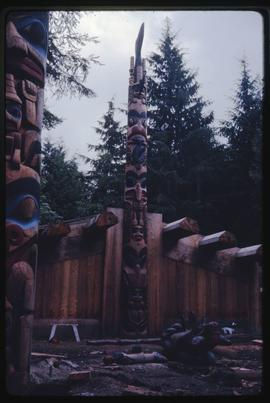 Construction of the Haida house at the Haida Village at Totem Park at the University of British C...