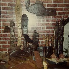 Carvings on display in store or home