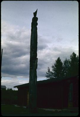 Fiber glass duplicate of very old pole (dog salmon), K-san, B.C.