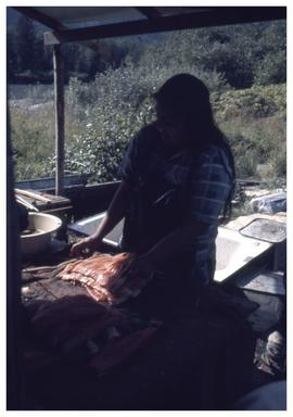 Preparing salmon, Kingcome Inlet