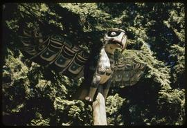 Kwakiutl, top of eagle crest pole, Totem Park, UBC, Vancouver