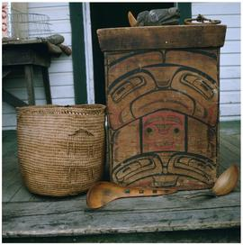 Skidegate basket and wooden carvings