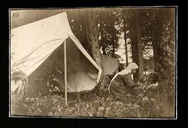 Tent and Woman on the Hayes River