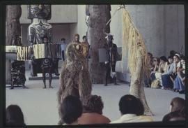 Performers dressed as animals in the Great Hall