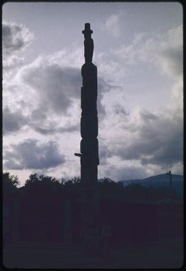 House posts done by Chief Jeffrey Johnson erected 1960, Museum (oldest bldg.) + Bennett pole, K-s...