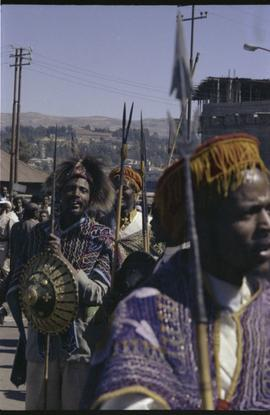 Ceremonial procession in Addis Ababa with spear