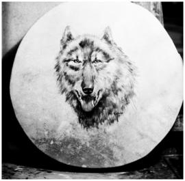 Wolf drum painted by Minn Sjolseth