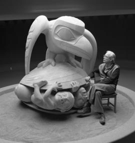 Bill Reid with Raven in MOA Rotunda