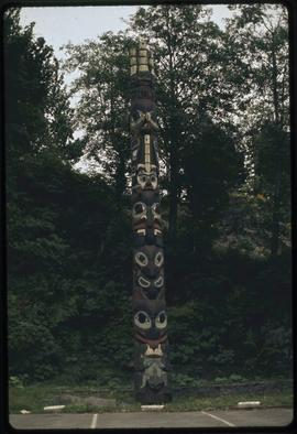 Eagle chief's pole of Tanu (original), Fulton Street Park, Prince Rupert, B.C.