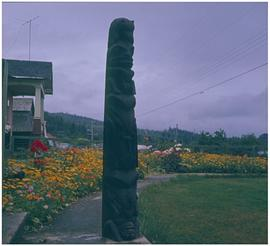 Skidegate [totem pole on residential street]