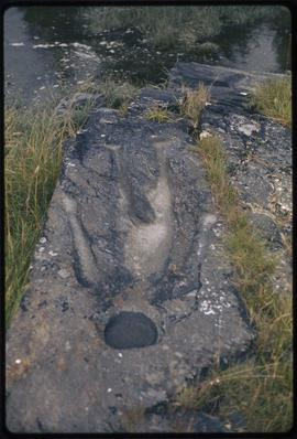 """Man who fell through a hole in the sky"", petroglyph on mainland near Prince Rupert, B.C."