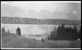 View of lake and mountains, version two