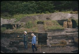 K'nu Canoe Point, Venn Passage, P. Rupert harbor, archeological site, posts in situ, toward ...